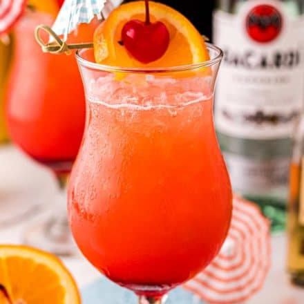 ice cold glass with hurricane cocktail