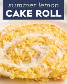 This Lemon Cake Roll is bursting with lemon flavor, ultra moist, and filled with an amazing lemon whipped cream filling. Looks fancy and complicated, yet is pretty easy to make! #cakeroll #lemon #rollcake