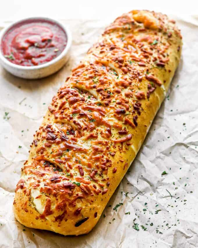baked stromboli ready to slice