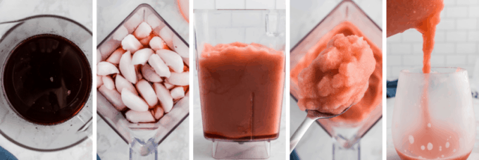 step by step how to make a cherry cola bourbon slush