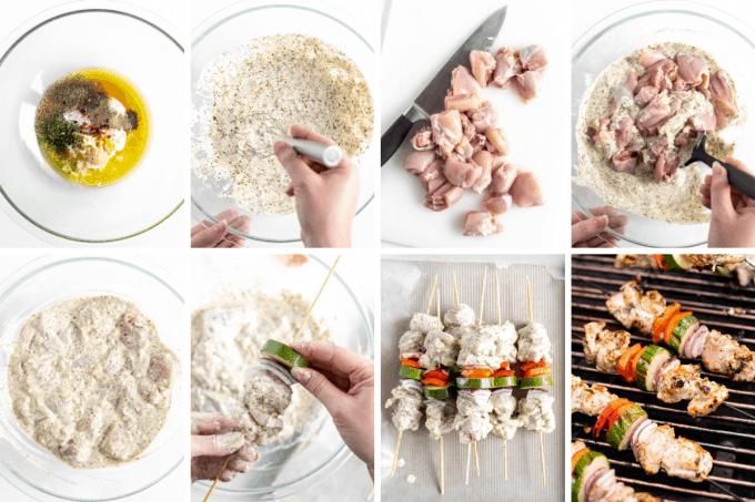 step by step how to make greek chicken kebabs