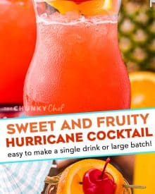 With just one sip, this Hurricane Cocktail will make you feel like you're on an island vacation! Easy to make just a single drink, or scale it up for a party! #rum #cocktail #drink