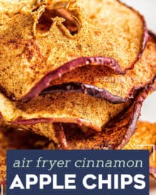 These Cinnamon Apple Chips are a healthy and delicious snack, made easily in the air fryer! Great way to use Fall apples, and this recipe is a family favorite! #applechips #fall #airfryer
