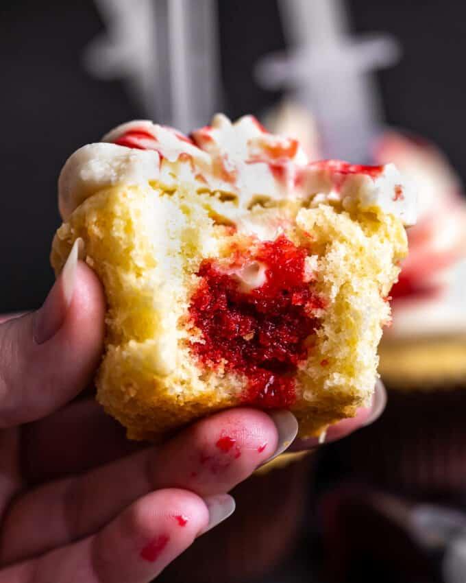 vanilla halloween cupcake filled with edible blood