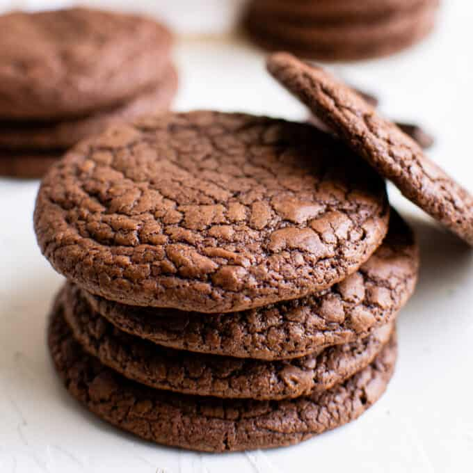 small stack of brownie cookies