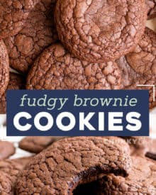 These Brownie Cookies combine all the amazing parts of a brownie; the shiny, crackly crust, chewy edges, rich fudgy centers, and great chocolate flavor... with the fun of a great homemade cookie. The best of both worlds! #brownie #cookie #baking