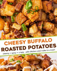 These crispy Cheesy Buffalo Roasted Potatoes are the side dish you never knew you needed in your life! Spiced potatoes, tangy hot sauce, gooey cheese, crispy bacon, fresh green onions... and top it all off with a drizzle of ranch or blue cheese dressing! #sidedish #potatoes #buffalo