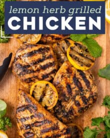This Lemon Herb Grilled Chicken is juicy and beautifully charred. The easy marinade is perfect for not only chicken, but pork and seafood too. It's a great versatile chicken recipe! #grilled #chicken #lemon