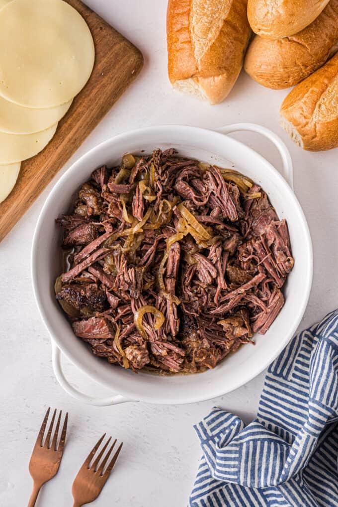 bowl of shredded beef