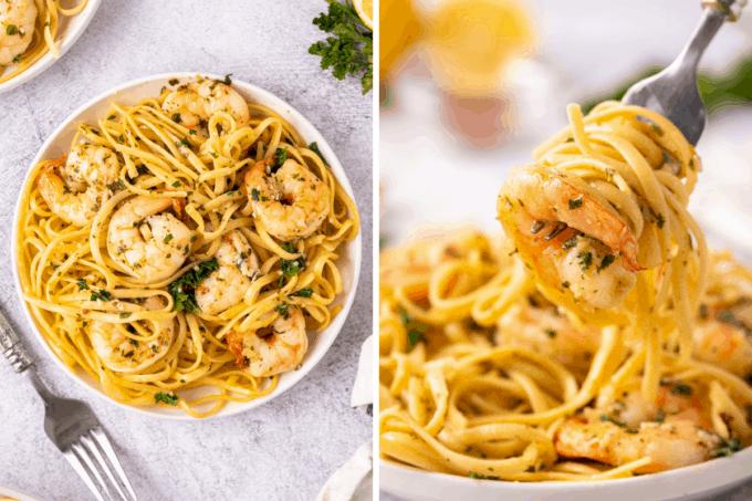serving shrimp scampi on pasta