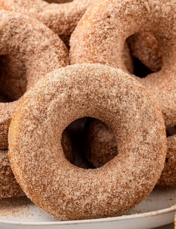 These Baked Apple Cider Donuts are soft and tender, full of warm Fall spices, and covered in a crunchy cinnamon sugar coating! Everything you love about apple cider, in a fun donut! #applecider #donuts #baking
