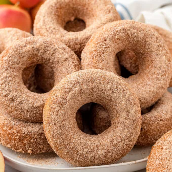 pile of apple cider donuts on plate