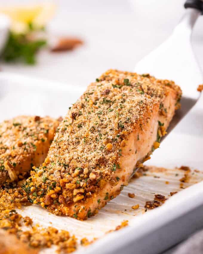 baked salmon filet on spatula