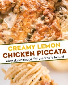 Tender chicken cutlets, lightly breaded and served in a mouthwatering lemon cream sauce with capers and shallots. Great over pasta and ready in about 30 minutes! #piccata #chicken #italian #30minutemeal