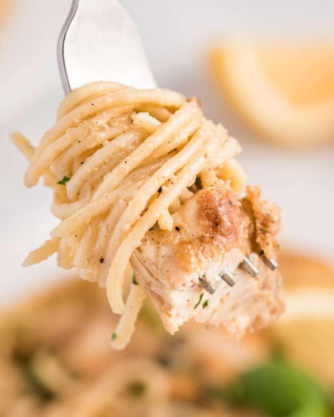 swirl of spaghetti with creamy chicken piccata