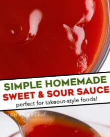 Everything you love about that takeout-style sweet and sour sauce, but without having to actually order takeout! Sweet and sour sauce is really easy to make at home, and is perfect on just about any Asian-inspired dish! #sweetandsour #takeout #sauce