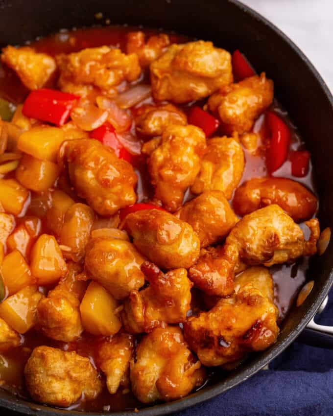 skillet with sweet and sour chicken