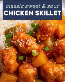 This Sweet and Sour Chicken Skillet is the perfect family dinner! Chicken is fried until crispy, added to a skillet with sautéed bell peppers, onions and pineapple, and tossed in an amazing takeout style sweet and sour sauce! #sweetandsour #chicken #chinese #takeout