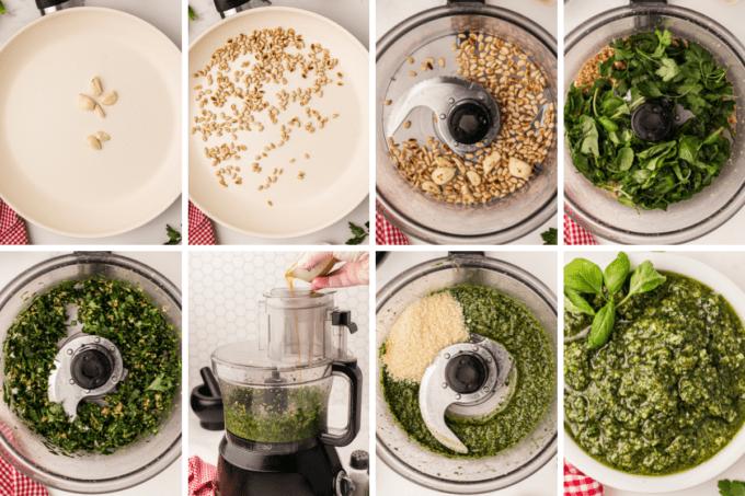 step by step how to make basil pesto