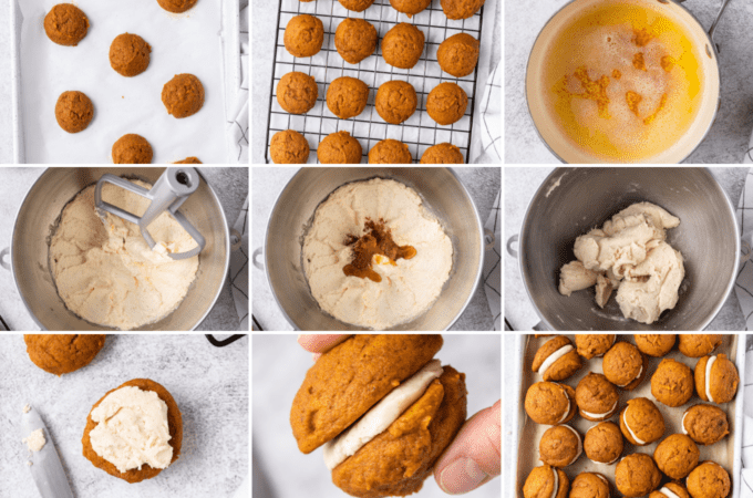step by step how to make pumpkin whoopie pies and frosting
