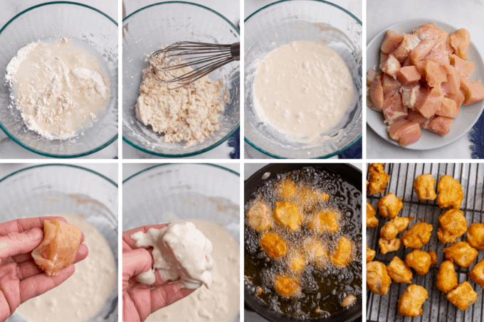 step by step how to fry chicken for sweet and sour chicken